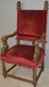 17926 Carved Oak Throne Chair with Cupids