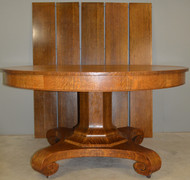 SOLD Victorian Oak 54 Inch Split Base Banquet Table – Opens 100 Inches