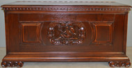 17347 Carved with Cupid Victorian Blanket Box in Mahogany