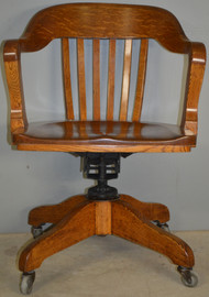 SOLD Antique Oak Lawyer's Bankers Swivel Tilt Office Chair