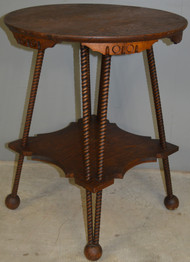 17929 Victorian Oak Round Rope Twisted Lamp Table