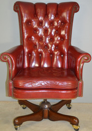 SOLD Red Leather Executive Swivel Office Chair by Kittinger