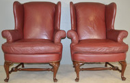 SOLD Pair of Matching Chippendale Wing Back Chairs in Leather