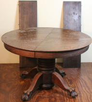 SOLD Victorian Oak Claw Foot Round 45 Inch Table with 2 Leaves