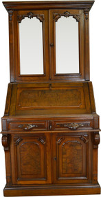 SOLD Victorian Burl Walnut Bookcase Desk – Civil War Era