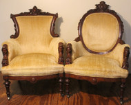 18304 Pair of John Jelliff Arm Chairs – Jenny Lind Heads