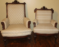18305 Pair of Victorian Upholstered Arm Chairs