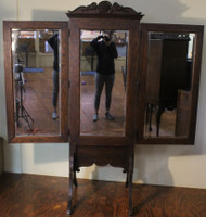 18311 Triple Section Carved Oak Dressing Mirror - Cheval