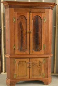 19861 Walnut American Early Corner Cupboard