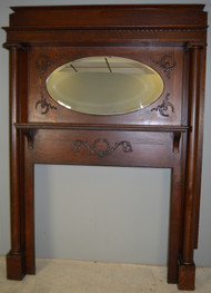 17980 Oak Victorian Fireplace Mantle with Oval Mirror
