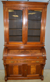 SOLD Victorian Burl Walnut Cylinder Secretary Desk with Pillars