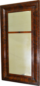17982 Period Empire Flame Mahogany Wall Mirror-Pre Civil War