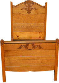 17984 Oak Carved Twin Bed
