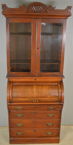 17987 Victorian Walnut Cylinder Bookcase Secretary Desk