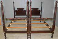 17900 Pair of Tall Mahogany Pineapple Poster Beds