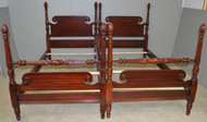 17968 Pair of Twin Mahogany Poster Beds