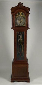 19875J Mahogany Carved Tall Case Grandfather Clock by Webb