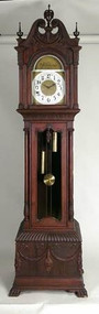 SOLD Classical Carved Mahogany Grandfather Clock by Gilbert