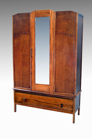 SOLD Oak Bevel Glass Wardrobe