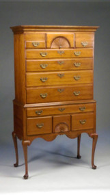 SOLD Period Queen Anne Chest on Chest Highboy with Fan Carvings