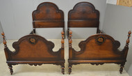 SOLD Pair of Burl Walnut Twin Size Beds