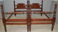 17605B Pair of Cannonball Carved Twin Poster Beds