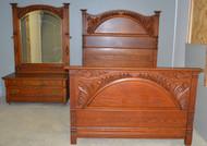 SOLD Victorian Oak Heavy Carved Bedroom Set