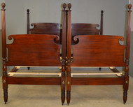 17754 Pair of Unbelievable Solid Mahogany Extra Tall Twin Poster Beds