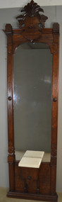 17858 Victorian Incise Carved Marble Top Pier Mirror