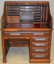 17948 Rare Walnut Raised Panel Roll Top Desk by Derby