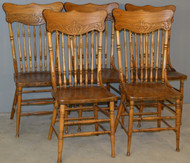 17893 Set of 5 Victorian Press Back Dining Chairs