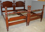 SOLD Pair of Mahogany Twin Size Cannonball Poster Beds