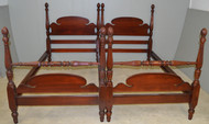 SOLD Antique Pair of Mahogany Twin Size Pineapple Poster Beds