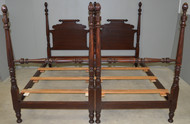SOLD Pair of Tall Twin Mahogany Pineapple Poster Beds