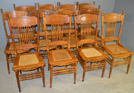 18562 Set of 12 Oak #1 Larkin Pressback Dining Chairs - Refinished