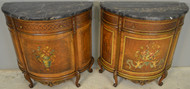 18537 Pair of Marble Top Demi Lune Chests
