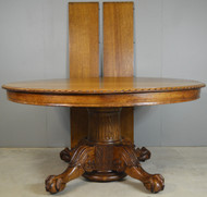 18559 Carved 60 inch Oak Banquet Table by Horner Flint