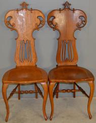 SOLD Pair of Oak Ladies Desk Chairs / Vanity Chairs