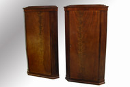SOLD Pair of Beidermeier Flame Mahogany Corner China Closets-Match Pair !!
