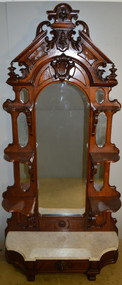 18547 Victorian Burl Walnut Marble Top Etagere