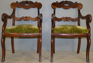 SOLD Pair of Period Empire Carved Arm Chairs – Civil War Era