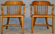 17548 Pair of Oak Barrel Back Lawyers Bankers Arm Chairs