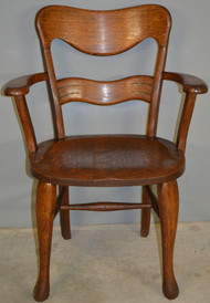 SOLD Oak Lawyers Carved Arm Chair