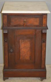 18543 Victorian Burl Walnut Marble Top Half Commode Nightstand