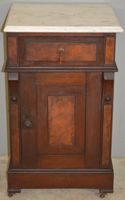 SOLD Victorian Burl Walnut Marble Top Half Commode Nightstand
