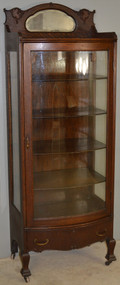 18572 Oak Curved Door Curio Cabinet - Larkin