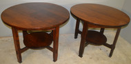 SOLD Pair of Stickley Mission Oak 40 Inch Round Tables