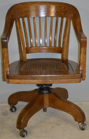 SOLD Oak Lawyers Refinished Bankers Office Swivel Chair