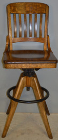 17718 Rare Oak Refinished Postmaster / Telephone Operator Office Chair