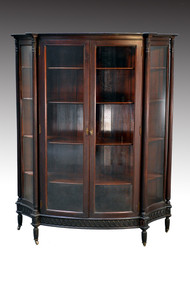 SOLD Antique Mahogany Very Unusual Four Curved Glass Victorian China Cabinet